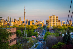 View of downtown from the Baldwin Steps at Spadina Park, in Midt. Own Toronto, Ontario stock image