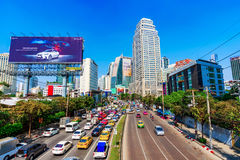 View of downtown Bangkok high rise buildings and traffic Royalty Free Stock Images