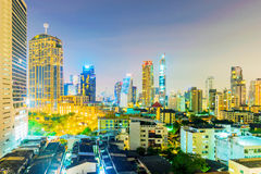 View of Downtown Bangkok. BANGKOK, THAILAND - JANUARY 30: View of hotels and skyscrapers in downtown Bangkok in Asoke January 30, 2017 in Bangkok Stock Image