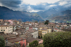 View of downtown Barga, Italy. Small housing in Barga, Italy, tightly built together Stock Photography