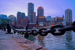 View of downtown Boston from seaport stock image