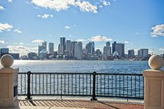 View of downtown Boston skyline from across the Boston Harbor stock photo