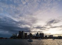 View of Boston Harbor and Downtown at dusk Royalty Free Stock Photography