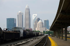 View on Downtown Charlotte, NC. Skyline from Amtrak railroad station Royalty Free Stock Image