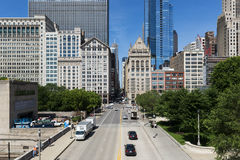 View of the downtown of the city of Chicago, in the State of Illinois, USA. Chicago, Illinois, USA - July 1, 2014: View of the downtown of the city of Chicago Royalty Free Stock Images