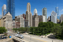 View of the downtown of the city of Chicago, in the State of Illinois, USA. Chicago, Illinois, USA - July 1, 2014: View of the downtown of the city of Chicago Royalty Free Stock Photography