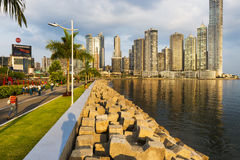 View of the downtown of the City of Panama with people walking in a promenade and modern buildings on the background. Stock Images
