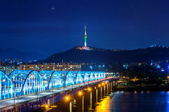 View of downtown cityscape at Dongjak Bridge and Seoul tower over Han river in Seoul, Korea. Stock Photography