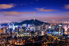 View of downtown cityscape and Seoul tower in Seoul Korea Royalty Free Stock Photography