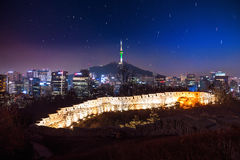 View of downtown cityscape and Seoul tower in Seoul Korea Stock Photography
