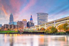 View of downtown Cleveland skyline in Ohio USA. At sunset stock images