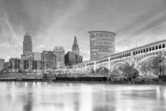 View of downtown Cleveland skyline in Ohio USA. At sunset royalty free stock photos