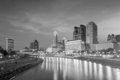 View of downtown Cleveland skyline in Ohio USA. At sunset stock photography