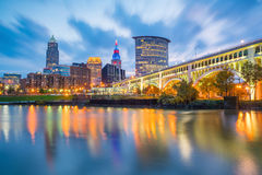 View of downtown Cleveland. Skyline in Ohio USA at twilight stock images