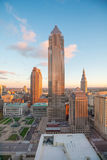 View of downtown Cleveland. Skyline in Ohio USA at twilight stock photo