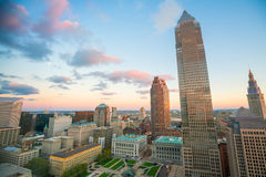 View of downtown Cleveland. Skyline in Ohio USA at twilight stock photos