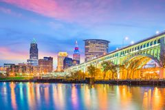 View of downtown Cleveland skyline in Ohio USA. At sunset stock photo