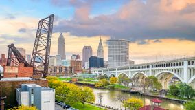 View of downtown Cleveland skyline in Ohio USA. At sunset stock image