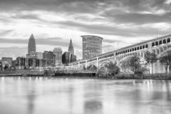 View of downtown Cleveland skyline in Ohio USA. At sunset royalty free stock photography