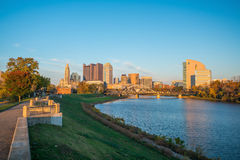 View of downtown Columbus Ohio. Skyline at Sunset Royalty Free Stock Photo