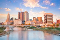 View of downtown Columbus Ohio Skyline at Sunset. In USA stock image