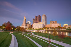 View of downtown Columbus Ohio Skyline. At twilight stock photo