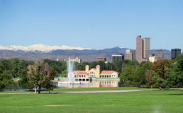A view of downtown Denver from City Park. A view of downtown skyscraperс Denver from City Park Royalty Free Stock Images