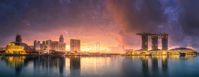 Downtown district and Marina bay in Singapore Royalty Free Stock Image