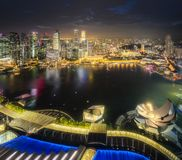 Downtown district and Marina bay in Singapore. View of downtown district and skyline from roof Marina Bay Sands hotel in Singapore Stock Photo