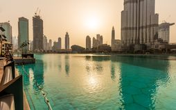 View of Downtown Dubai and Burj Khalifa during Sunset. Dubai - U. View of Burj Khalifa and Dubai Opera during sunset Royalty Free Stock Image