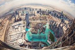 View of downtown Dubai from Burj Khalifa Royalty Free Stock Image
