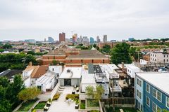 View downtown from Federal Hill, Baltimore, Maryland.  stock photography