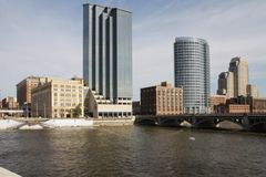 View of downtown Grand Rapids. MI from west side of Grand River Royalty Free Stock Image