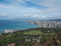 View of Downtown Honolulu from atop Diamond Head Stock Photo