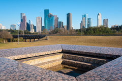 A view of downtown Houston from Houston Police Officer`s Memorial Royalty Free Stock Images