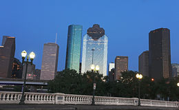 View on Downtown Houston at Night Fall Royalty Free Stock Photos