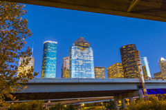 View on downtown Houston by night Royalty Free Stock Images