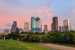 View of downtown Houston at twilight Royalty Free Stock Photo