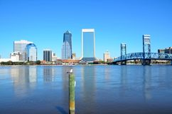 Riverfront of Jacksonville Florida. A view of the downtown Jacksonville seen from the St. Johns river in Florida, USA Royalty Free Stock Image