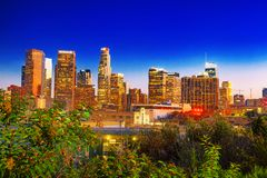 View of the Downtown of LA in the evening, night time royalty free stock images