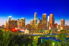 View of the Downtown of LA in the evening, night time royalty free stock photo