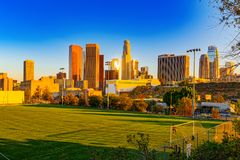 View of the Downtown of LA in the evening, before sunset time royalty free stock photos