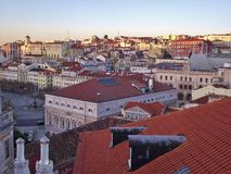 View of downtown Lisbon, the Baixa with national theatre. Portugal. Stock Photos