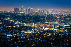 View of the downtown Los Angeles skyline at night. View of the downtown Los Angeles skyline at night, from Griffith Observatory, in Griffith Park, Los Angeles Royalty Free Stock Photography