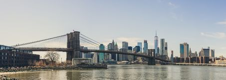 View of downtown Manhattan and Brooklyn bridge from dumbo district stock photos