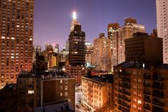 View of downtown Manhattan at night from my window Royalty Free Stock Image