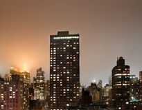 View of downtown Manhattan at night from my window Royalty Free Stock Images