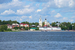 A view of the downtown of Myshkin from the right Bank of the Volga river, cloud day in july Stock Photo