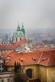 View of downtown Prague a cold and foggy winter day Royalty Free Stock Image