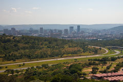 View of downtown Pretoria with a memorial to the pioneers. Of South Africa. Pretoria from the observation deck of the `Monument of Voortrekker Stock Images